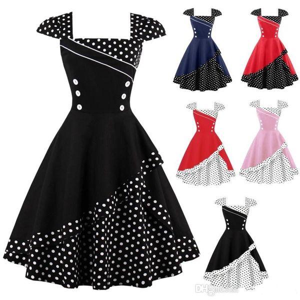 New S 4XL Plus Size Women Patchwork Polka Dot Vintage Dress Rockabilly  Retro Polka Dots Button Vestidos Hepburn 50s 60s Party Dresses FS1506  Dressing ...