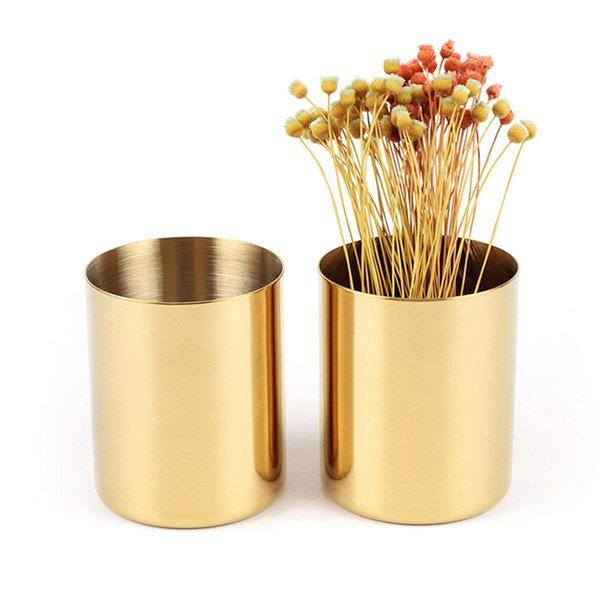 best selling Modern Gold Round Stainless Steel Pencil Holder Pen Pot Desktop Organizer Accent Vase