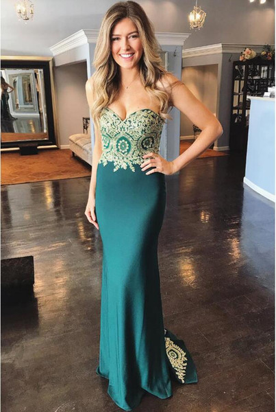 Emerald Green Mermaid Prom Dresses Sweetheart Gold Applique Tight Formal Evening Gowns Plus Size Beautiful Lace Up junior Graduation Dress