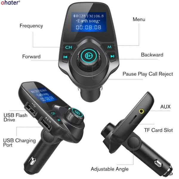 ohater Hands Free Wireless Bluetooth FM Transmitter TF AUX Modulator Car Kit MP3 Player Air vent Holder Stand Car Phone Holder