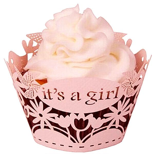 12pcs Laser Cut Pink It's a Girl Cupcake Wrapper Filigree Vine Wrap Collars Cups Baby Shower 1st Birthday Party Cake Decoration