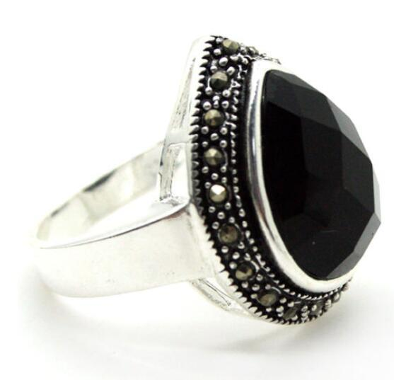 design women grade latest wholesale good 25*20mm FACETED BLACK STONE &MARCASITE 925 SILVER RING SIZE 7/8/9/10