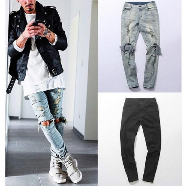 GMANCL Harajuku Distressed hip hop Ripped Jeans Mens Big Hole Biker Knee Swag Clothes Destroy Skinny Denim cotton jeans