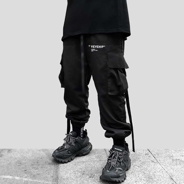 2019 Men Streetwear Hip Hop Black Cargo Pants Pockets Harajuku Harem Pants Swag Ribbon Joggers Pants HipHop Sweatpants Trousers
