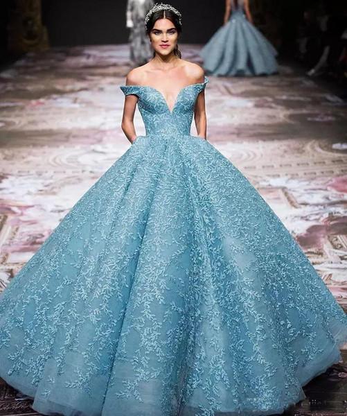 2018 Splendidi abiti da sera Zuhair-Murad Charme Azzurro Off spalla Red Carpet Gowns Applique appliquidi Abiti Occasioni speciali