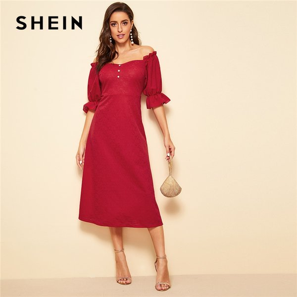 b11d9410cc59 SHEIN Red Button Front Ruffle Flounce Sleeve Off the Shoulder Flare Vintage Dress  Women Spring Summer Solid Long Party Dresses