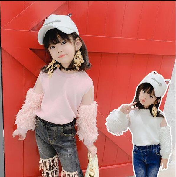 2019 maglietta patchwork per ragazze coreane stile nappa moda autunno ragazze top 2-7t C205