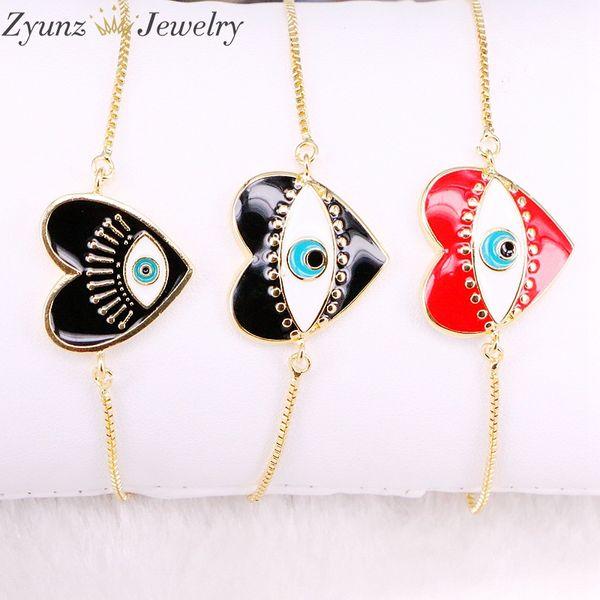 10PCS, Simple Design Eye Heart / Star Bracelet For Women Gold Color Charm Link Chain Adjustable Bracelets Female Jewelry