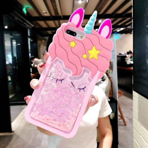 Cartoon Cute Horse Phone Case For iPhone X 8 7 6 6s Plus 4 4s 5 5s 3D Pink Quicksand Unicorn Soft Liquid Back cover Coque