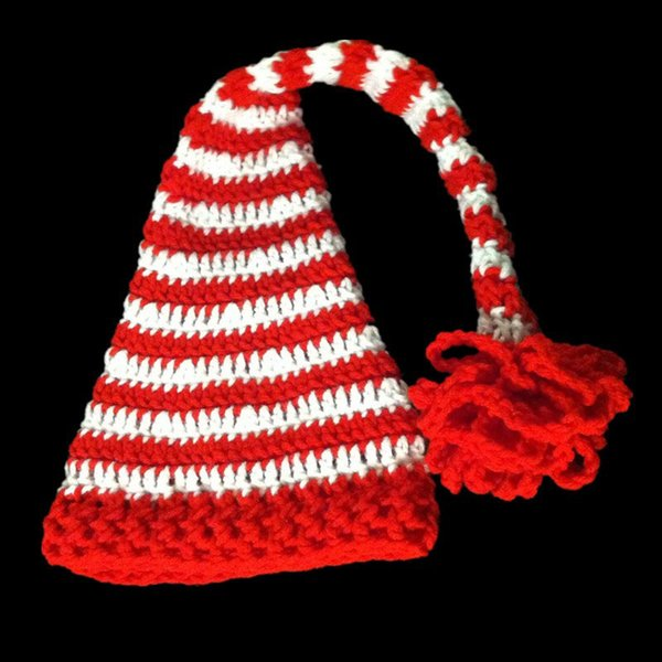 Adorable Santa Elf Hat,Handmade Knit Crochet Baby Boy Girl Long Tail Christmas Hat,Kids Winter Cap,Infant Newborn Photo Props