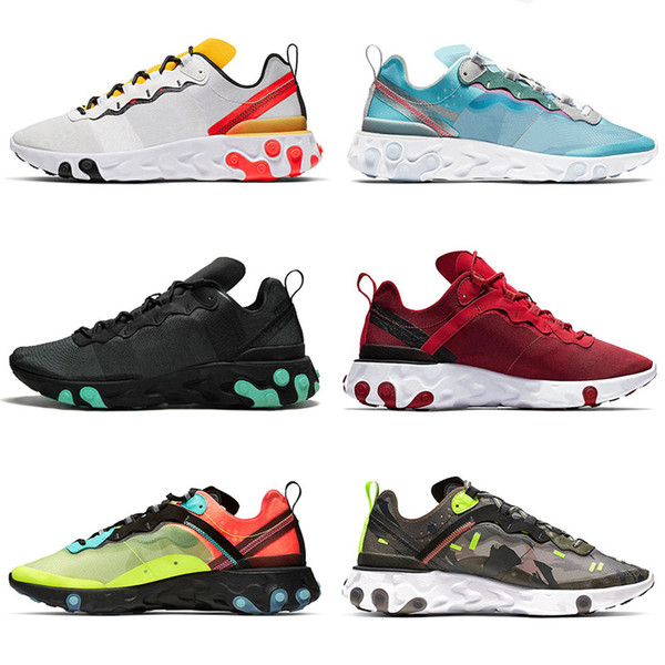 best selling React Element 55 Undercover x React 87 55 Mens Sneakers Black White Olive Camo Red Tour Yellow Mens Running Shoes Trainers Women Sneakers