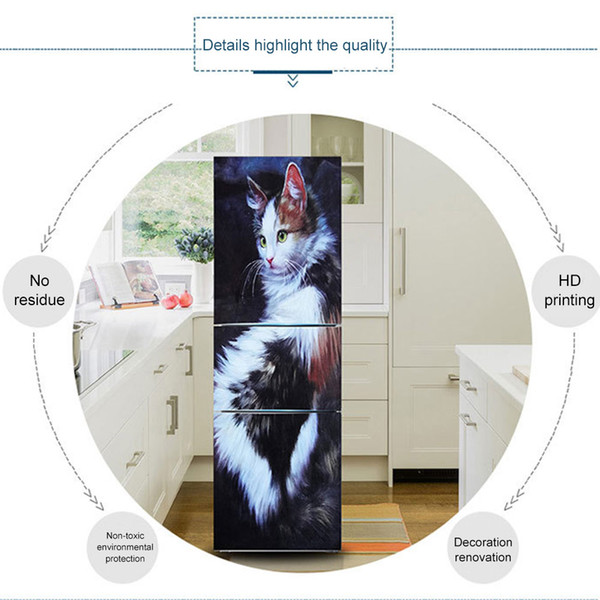 Hot Fridge Wallpaper Stickers Cats Pattern Opaque PVC Waterproof Refrigerator Decals XJS789