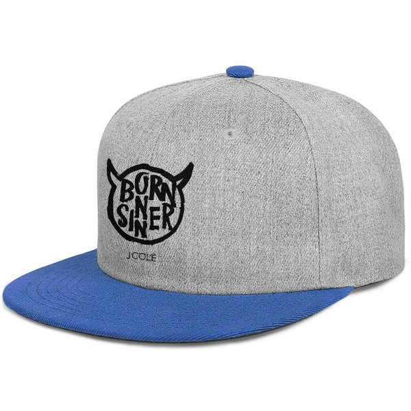 J Cole Born Sinners logos mens and womens flat brim hats blue snapback cool custom hats custom kids design your own fashion Design your own