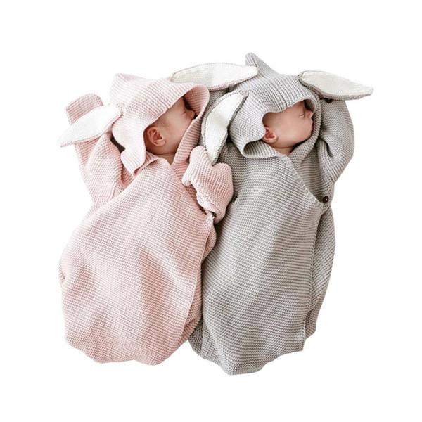 Sonbahar Kış Yeni Romper Bunny Kulakları Örme Uyku Tulumu Yenidoğan Bebek HEDIYE için Stereo Giysiler Giysileri MX190912