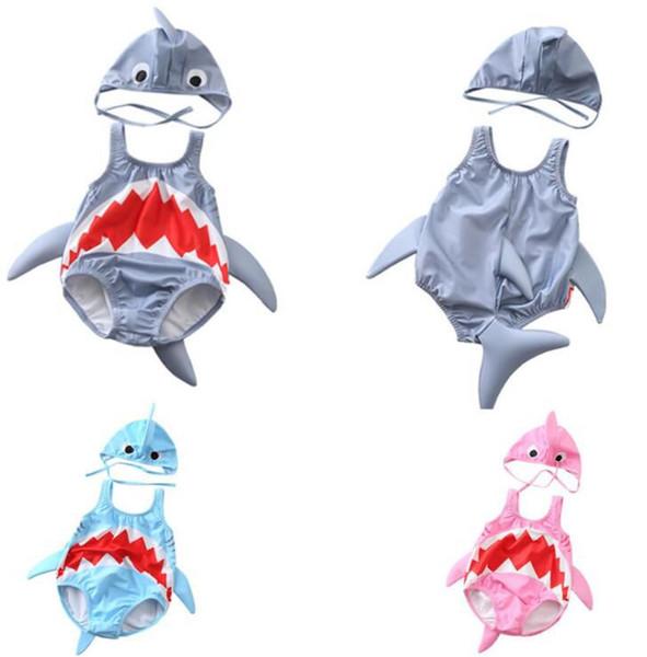 Baby Shark Swimwear Kids Summer Swimsuit One Piece Romper with Swim Hats Girls Beachwear Bathing Suits KKA6656