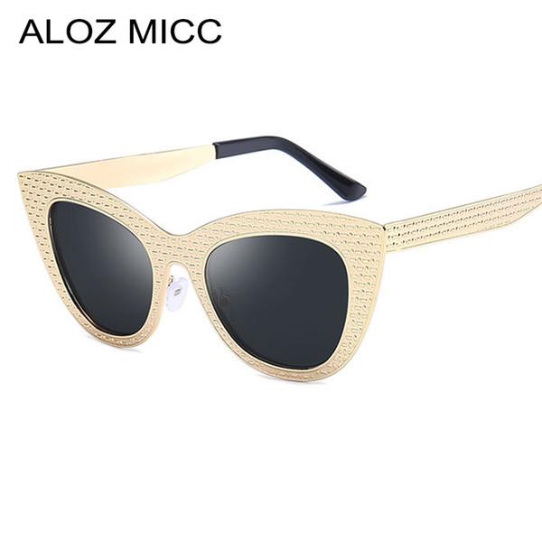 67913512cc8 ALOZ MICC New Women Cat Eye Sunglasses High Quality Metal Frame SunGlasses  Women Vintage Shade Unisex Eyeglasses A476