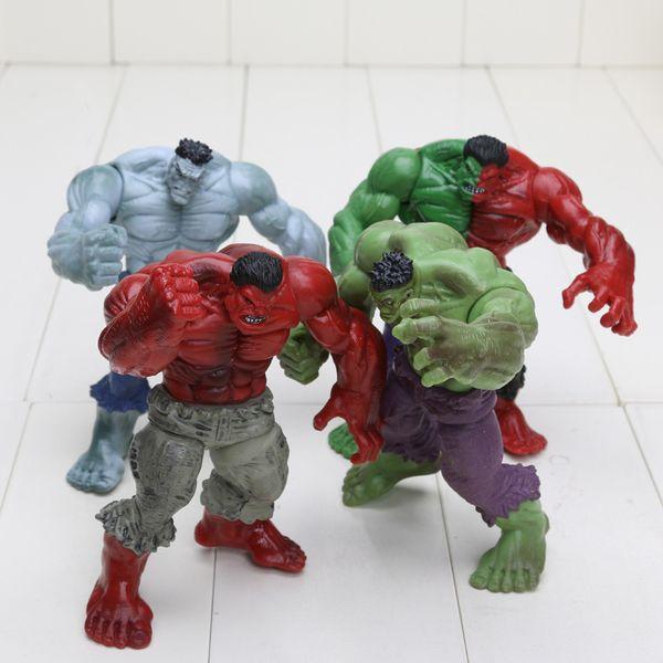 4pcs/set 12cm Avengers 2 Hulk Compound Red Grey Green Pvc Action Figure Model Toys C19041501