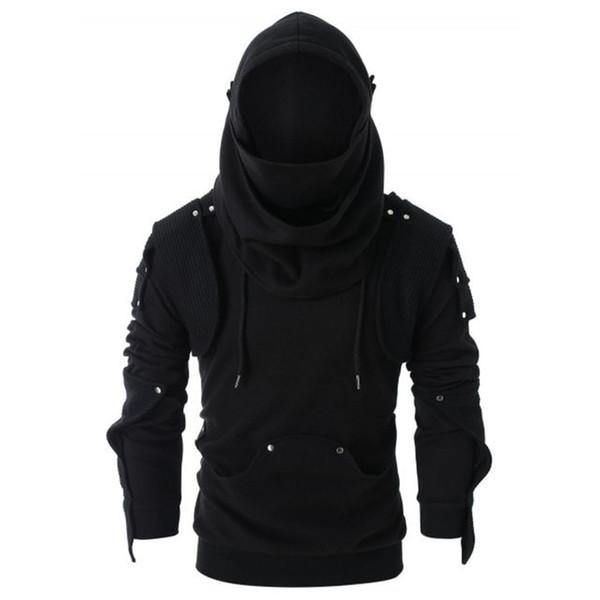 Inverno Maschio Jacket Mens Retro pulsante Maschera gomito pullover maniche lunghe con cappuccio Felpa Tops Camicia Autunno Cappotti casuale più Size