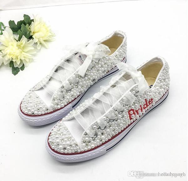 Luxury Pearls Bride Wedding Shoes 2019 Handmade Major Beaded Outdoor Beach Casual Canvas Plimsoll Bridesmaid Sneaker Flat Shoes