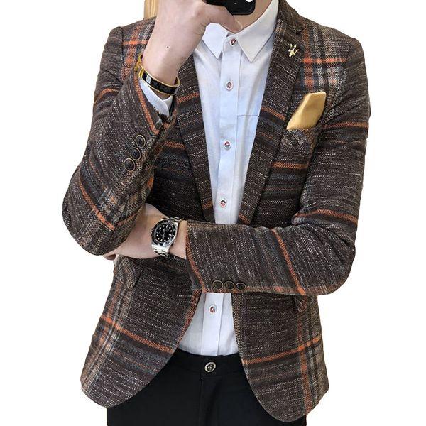 Los hombres adelgazan los diseños de Corea Elegante Masculino Masculino Plaid Tweed botón de la boda Casual chaqueta para hombre de la chaqueta SuitMX190905