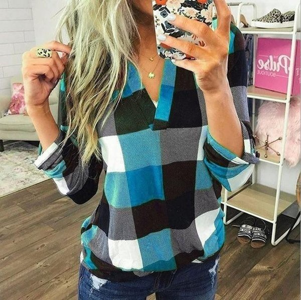 2019 Women'S Blouses Shirts Sky Blue Chemise Femme Ladies Tops New Pattern V Collar Lattice Printing Leisure Time Long Sleeves Shirt Jacket From