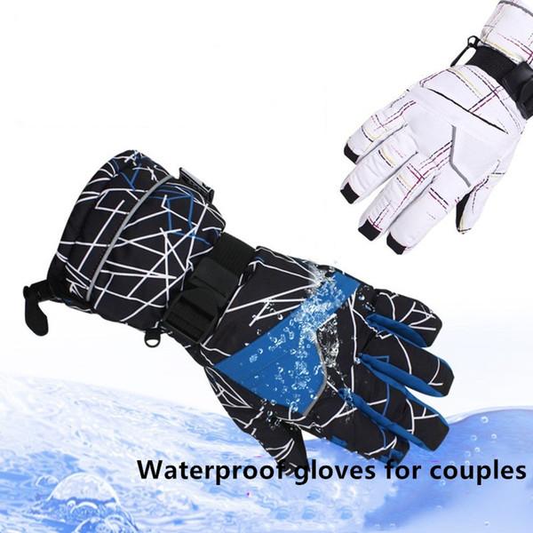 30 colores de cinco capas cálida impermeable transpirable guantes de esquí de invierno a prueba de viento hombres y mujeres par de guantes de bolsa a prueba de agua al aire libre