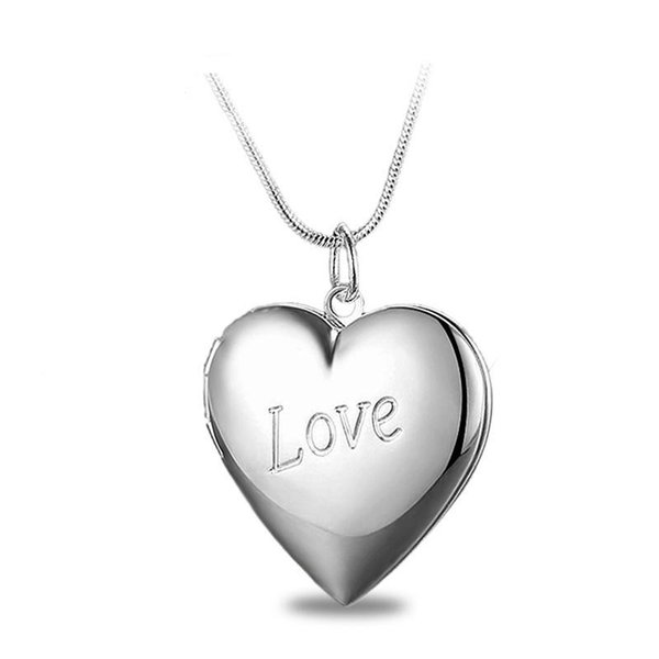 Factory Wholesale 925 Sterling Silver Plated LOVE Heart Pendant Locket Necklace Fashion Classic Romance Jewelry Valentine's Day Gift