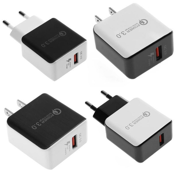 QC 3.0 Fast Wall Charger USB Quick Charge 5V 3A 9V 2A Travel Power Adapter Fast Charging US EU Plug for iPhone 7 8 X CAB312