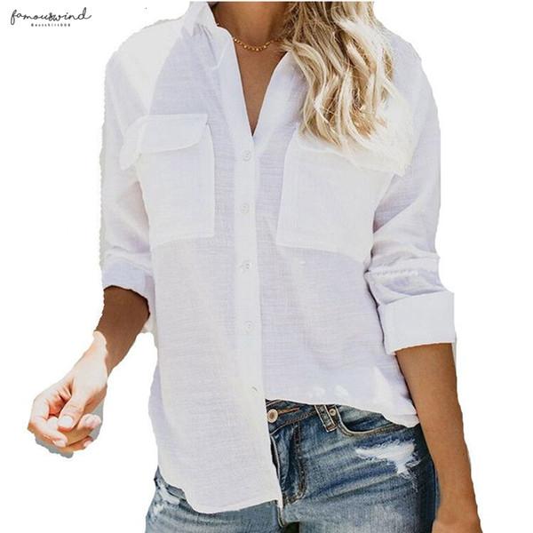 Keten Bluz Uzun Kollu Bayan Tops Ve Bluzlar Pamuk Yaz İçin Beyaz Düğme Aşağı Gömlek Yaka Büro Gömlek Aşağı çevirin