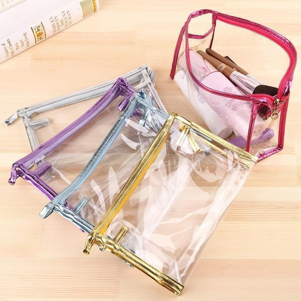 Wholesale- New Fashion Pink Blue Square Cosmetic Bag Transparent Waterproof PVC Toiletry Bags Clear Women Makeup Bag Organizer Storage