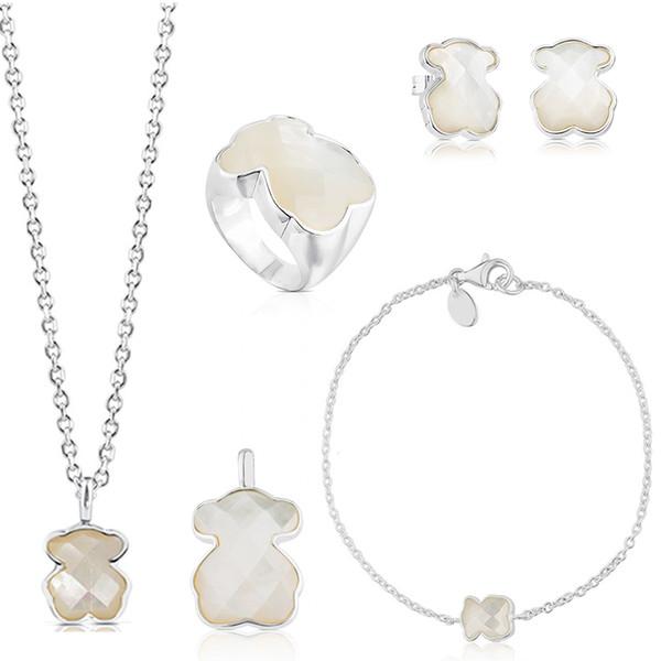 2019 100% 925 Sterling Silver Nacre Doux Tempérament Bear Boucles D'oreilles Bracelet Collier Bague Pendentif De Mode Bijoux