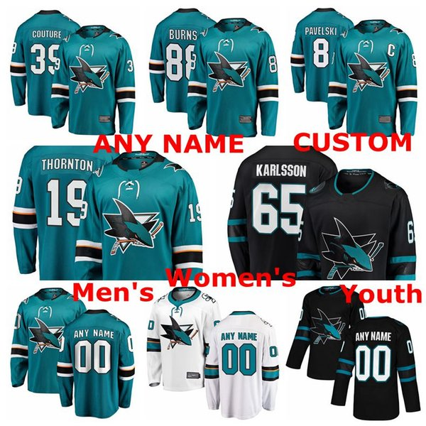 new product 13013 880b2 2019 San Jose Sharks Jerseys Joe Pavelski Jersey Erik Karlsson Brent Burns  Joe Thornton Logan Couture Teal White Hockey Jerseys Custom Stitched From  ...