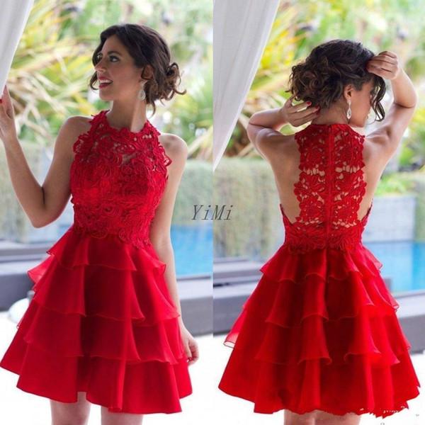 Abiti corti rossi ritorno a casa 2019 gioiello a strati pizzo min abiti da ballo Cocktail Party Dress vestito occasione speciale laurea indossare arabo economico