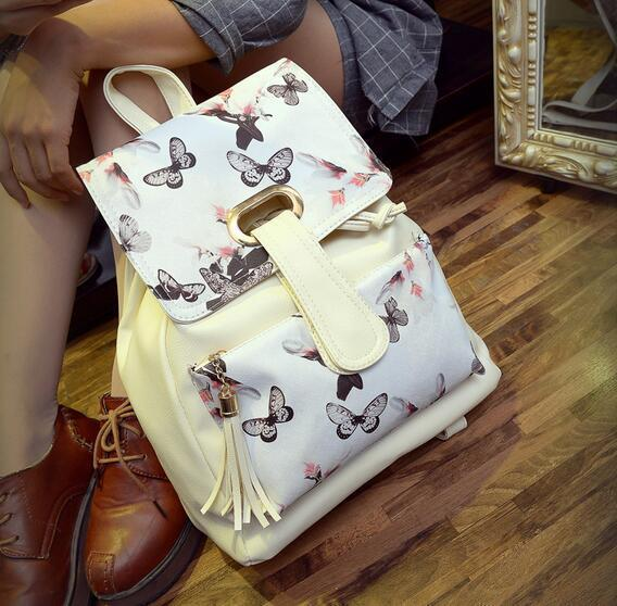 2019 New School Backpack Belt Buckle Tongue Black And White Flowers Quality Pu Leather Fringed Shoulder Bag Large Capacity