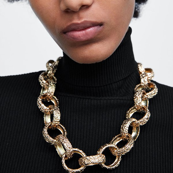 Manilai Statement Metal Coarse Chain Choker For Women 2019 New Punk Alloy Maxi Bib Collar Necklaces Big Jewelry Golden C19041704