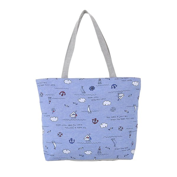 Cheap Fashion 2019 Ocean Wind Canvas Handbag Preppy School Bag for Girls Women's Handbags Cute Bags FA$B Women bag