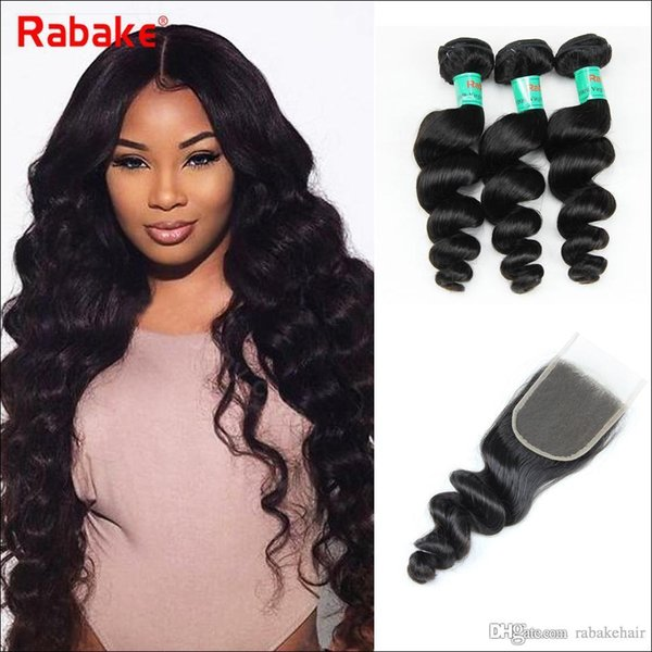 Rabake Loose Wave Brazilian Virgin Hair Weave Bundles With Top Lace Closure 4x4 Swiss Lace Best Human Hair Extensions Wholesale Cheap Price