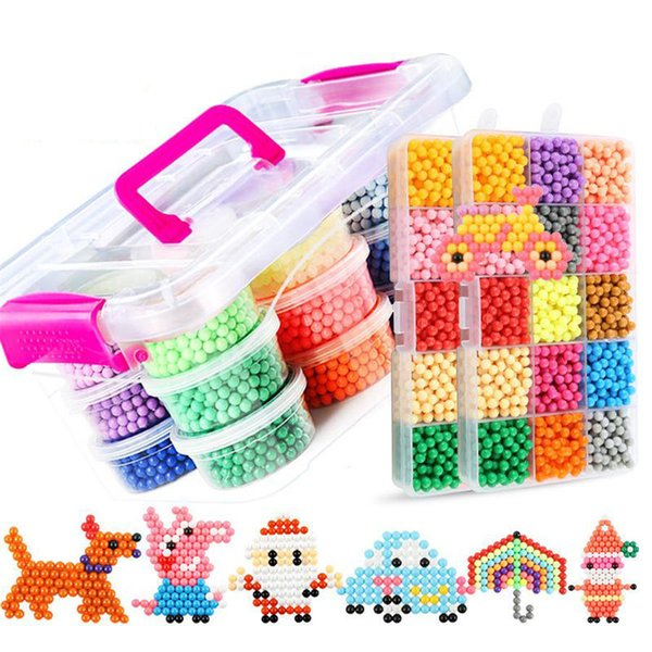24Color Water Aqua beads toys sticky perler beads pegboard set fuse beads jigsaw puzzle Water magic bead beadbond educational kids toys
