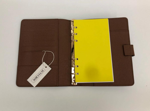 best selling 19CM*12.5CM Agenda Note BOOK Cover Leather Diary Leather with dustbag and Invoice card Note books Hot Sale Style Gold ring
