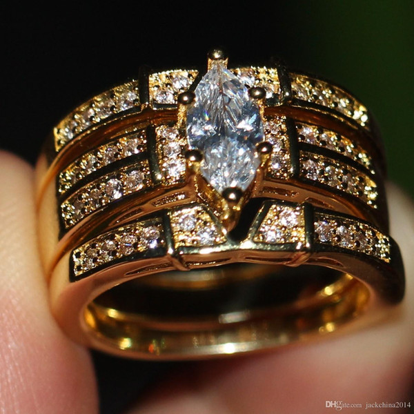 Виктория Вик старинные ювелирные изделия груша Cut женщины мода кольцо стерлингового серебра 925 позолоченный CZ Алмаз 3в1 свадебные размер 5-11