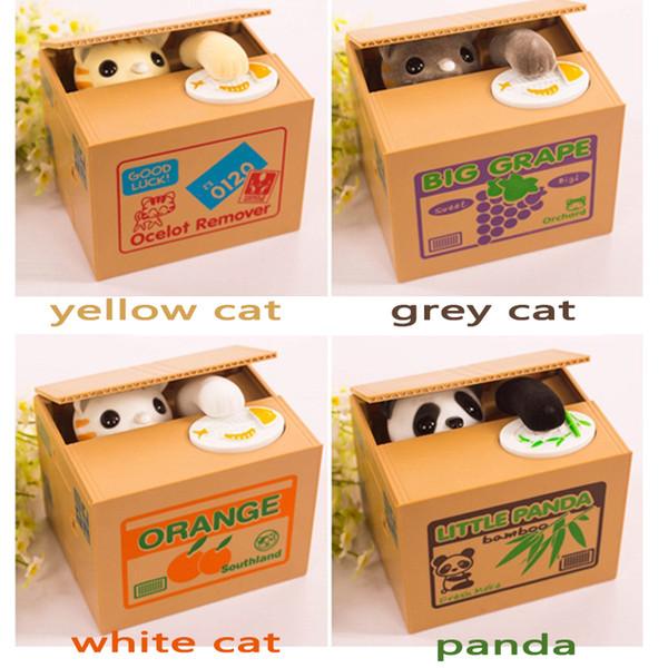 2017 Hot Sale Automated Cat Steal 1pcs Piggy Bank Moneybox Money Saving Box Gifts Digital Coin Jar Alcancia Cofre Q190606