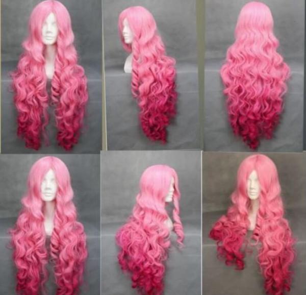 Perücke heißer hitzebeständige party hairfashion girl lange lockige wellenförmige lolita rosa cosplay anime volle perücke frauen perücken