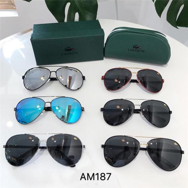 2019 Diseñador de la marca Gafas de sol para mujer para hombre con montura de tablón Bisagra de metal Lente de vidrio Gafas de sol Cat Eye Gafas de sol uv400 Con estuches y etiqueta