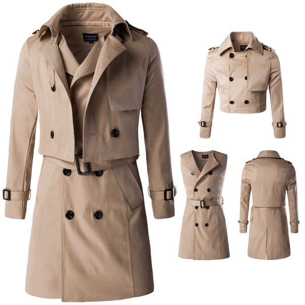Y600 New Fashion Spring &Autumn Men Clothing Two piece Suit Coat long double Breasted Trench Coat