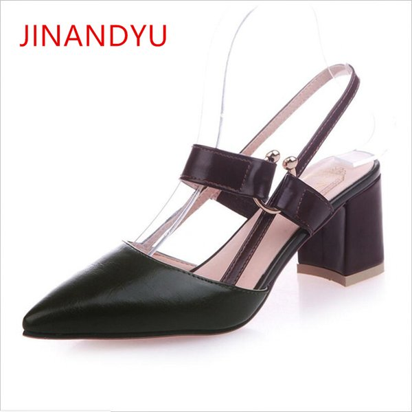 Dress Shoes Pointed Toe Women Thick High Heel 2019 Fashion Tide Hollow Work Women's Green High Heels With Straps Chunky Heels Pump
