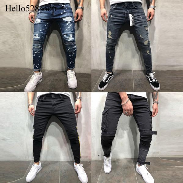 Hello528shop Casual Uomo Jeans Pantaloni per uomo Ragazzi - Skinny Stretc Slim Fit Ripped Designer Fashion Tapered Trouser