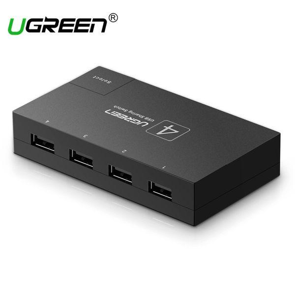 Ugreen Switch KVM Switcher USB Sharing 4/2 PCs Comparte 1 dispositivo Selector KVM de 4/2 puertos para teclado Impresora Monitor USB KVM Switch