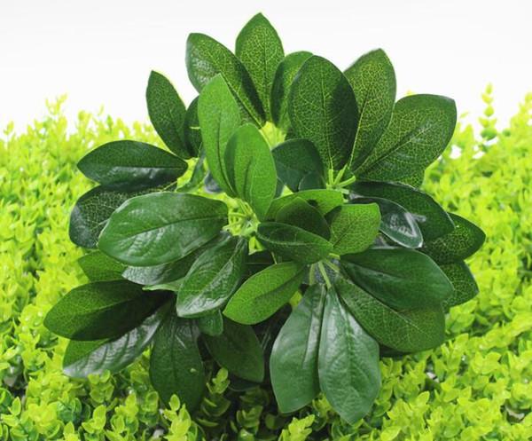 Matériau de mur végétal décoratif en pot pour la plantation de feuilles vertes 9 feuilles de pied de canard simulées, bois W1216