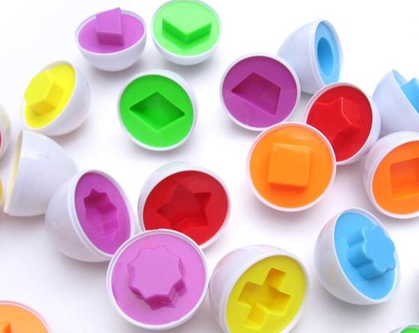 Huevos al por mayor-simulados 6pcs Forma mixta Sabio Pretender Puzzle Huevos inteligentes Bebé niño Aprendizaje Cocina Huevos Juguetes educativos Juguetes Regalo Regalo Entregar