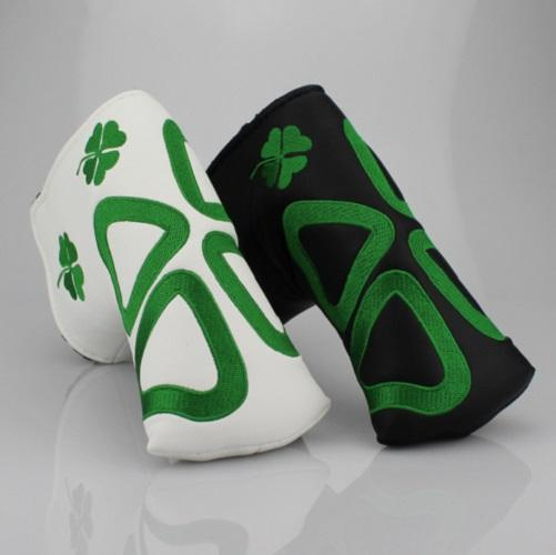 Lucky Clover Exquisite Embroidery Golf Putter Head Cover PU Leather Golf Headcovers Blade Putter Protector,2 Colors